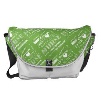 Nurse Pride-Attributes/Green+White Heart Messenger Bag