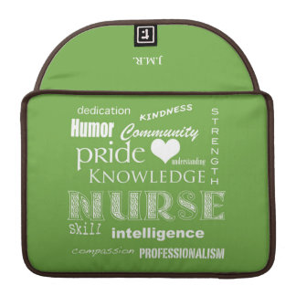 "Nurse Pride-Attributes+Initials/Lime Green-13"" Sleeve For MacBooks"
