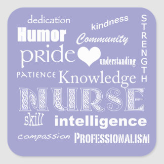 Nurse Pride Attributes-Lilac Square Sticker