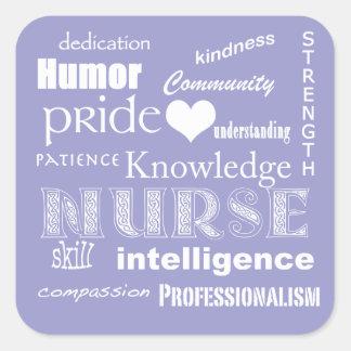 Nurse Pride Attributes-Lilac Square Sticker
