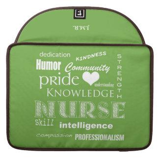 "Nurse Pride-Attributes/Lime Green-15"" MacBook Pro Sleeve"