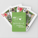 """Nurse Pride-Attributes/Lime Green Bicycle Playing Cards<br><div class=""""desc"""">If you&#39;re a Nurse, or you know one, this would be a great little gift. Features a lime green background, and words that spell out all the attributes and strengths that nurses in this demanding field must have to be successful. Has a little heart in there too, because nurses have...</div>"""