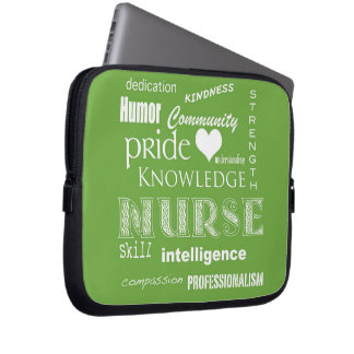 Nurse Pride-Attributes/Lime Green Computer Sleeve