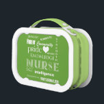 """Nurse Pride-Attributes/Lime Green Lunch Box<br><div class=""""desc"""">Here&#39;s a cute lunch box for the nurse,  featuring all the attributes of a terrific nurse! Plus a heart because nurses as we know,  have big hearts. This lunch box is in a lime green with white lettering. Design comes in 6 cool colors!</div>"""