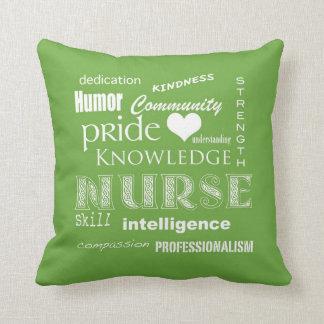 Nurse Pride-Attributes/Lime Green Throw Pillow