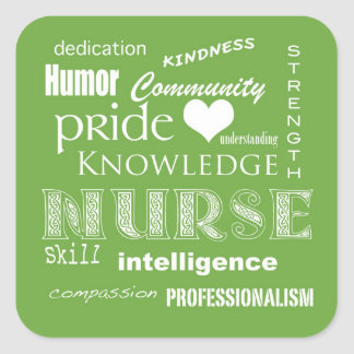 Nurse Pride Attributes-Lime Green Square Sticker