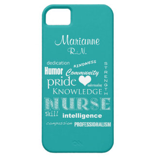 Nurse Pride-Attributes+Name /Aqua iPhone SE/5/5s Case
