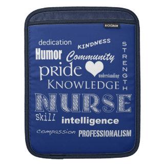 Nurse Pride-Attributes/Navy Blue iPad Sleeve