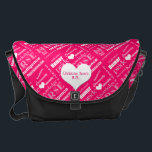 "Nurse Pride Attributes/Pink-Personalize Name Messenger Bag<br><div class=""desc"">This pretty and yet extremely functional messenger bag is perfect for the nurse, featuring a hot pink background and a repeating pattern of a &quot;nurse word cloud&quot; that has all the wonderful attributes and strengths that a nurse has to have to be successful in the field of nursing! In addition,...</div>"