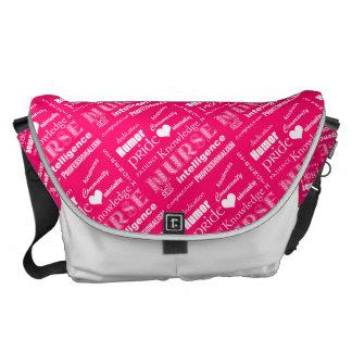 Nurse Pride-Attributes/Pink+White Heart Messenger Bag