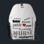 "Nurse Pride-Attributes/Red Heart Initials Messenger Bag<br><div class=""desc"">If you&#39;re a Nurse, or you know one, this would be a great little gift. Features the words that spell out all the attributes and strengths that nurses in this demanding field must have to be successful. Has a little heart in there too, because nurses have big hearts! On the...</div>"
