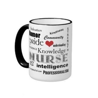 Nurse Pride-Attributes+Red Heart Ringer Coffee Mug