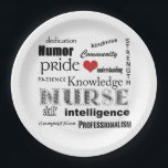 "Nurse Pride-Attributes Red Heart Paper Plate<br><div class=""desc"">If you&#39;re a Nurse, or you know one, this would be a great paper plate for a party! Features a white background, and words that spell out all the attributes and strengths that nurses in this demanding field must have to be successful. Has a little red heart in there too,...</div>"