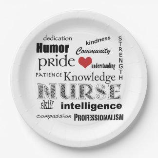 Nurse Pride-Attributes+Red Heart Paper Plate