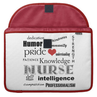 "Nurse Pride-Attributes/Red+White/15"" Sleeve For MacBook Pro"