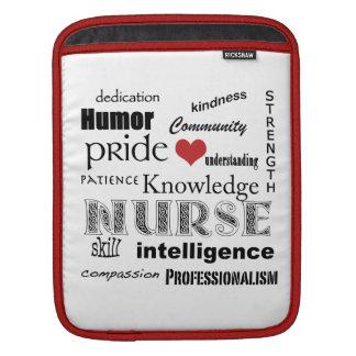 Nurse Pride-Attributes/Red+White iPad Sleeve