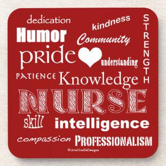 Nurse Pride-Attributes/Rich Red Drink Coasters