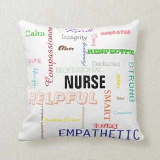 Nurse Pride Attributes Traits Bright Typography Throw Pillow