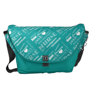 Nurse Pride-Attributes/Turquoise+White Heart Messenger Bag