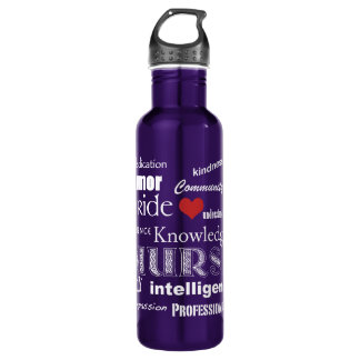 Nurse Pride-Attributes/White Text+Red Heart Stainless Steel Water Bottle
