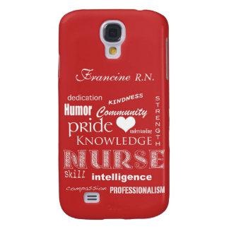 Nurse Pride-Personalize Name/Tomato Red Samsung Galaxy S4 Cover