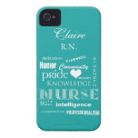 Nurse Pride-Personalize Name/Turquoise Case-Mate iPhone 4 Cases