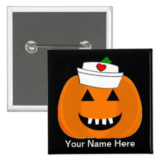 Nurse Pumpkin Name Badge Hand Turkey Pinback Button