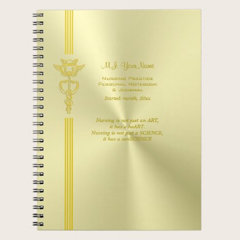 Nurse record keeping with golden caduceus notebook