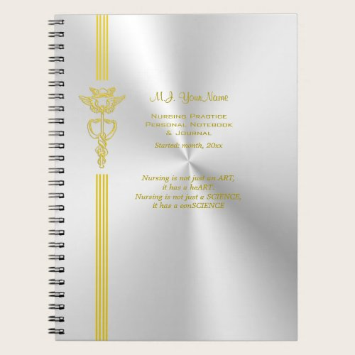 Nurse record keeping with golden caduceus notebook