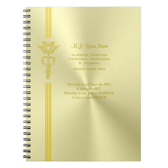 Nurse record keeping with golden caduceus spiral notebook