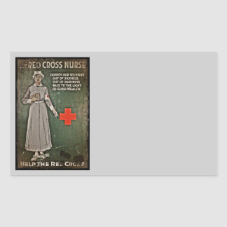 Nurse Requesting Donations WWI Rectangular Sticker