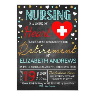Nurse Retirement Invitation Work of heart