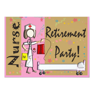 Nurse Retirement Party Invitations Pink Brown