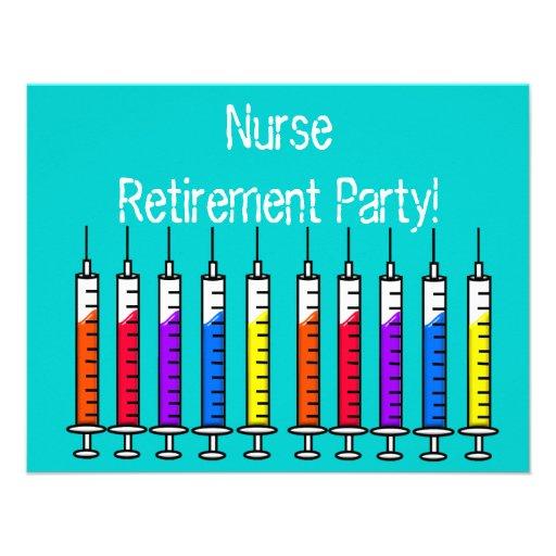 Nurse Retirement Party Invitations Syringes Design