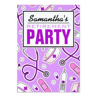 Nurse Retirement Party Purple 5x7 Paper Invitation Card