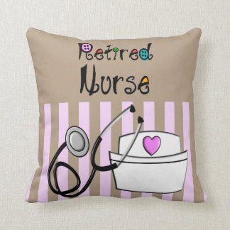 Nurse Retirement Pillow Pink and Brown