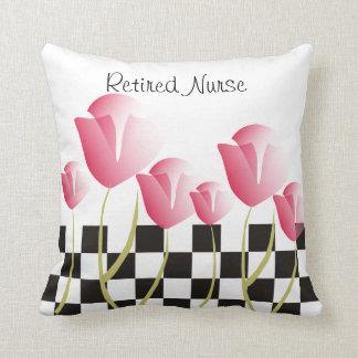 Nurse Retirement Pillow Pink Tulips