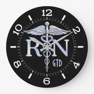 Nurse RN Caduceus Monogram Dial Style on Black Large Clock