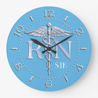 Nurse RN Caduceus Monogram Dial Style on Blue Large Clock