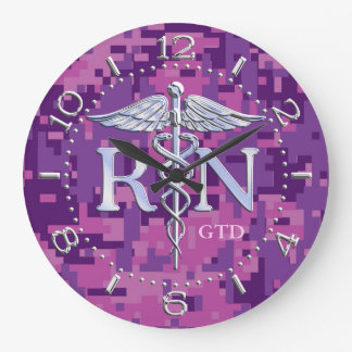 Nurse RN Caduceus Monogram Dial Style on Pink Camo Large Clock