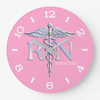 Nurse RN Caduceus Monogram Dial Style on Pink Large Clock