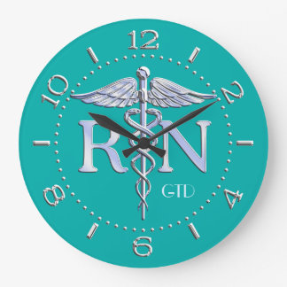 Nurse RN Caduceus Monogram Dial Style on Turquoise Large Clock