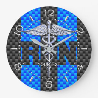Nurse RN Caduceus Personalized Style Blue Carbon Large Clock