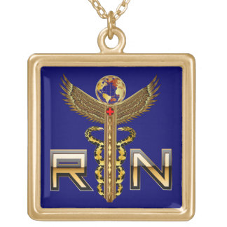 Nurse RN Cust, Edit Change Back Color Square Only Gold Plated Necklace