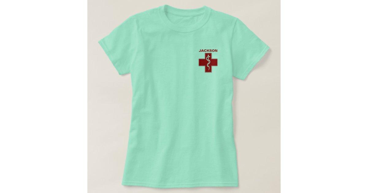 Nurse rod of asclepius caduceus name template t shirt zazzle for Zazzle t shirt template