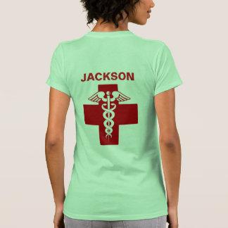 Nurse Rod of Asclepius Caduceus Name Template Tee Shirt