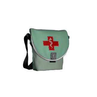 Nurse Rod of Asclepius Scrubs Green Messenger Bag
