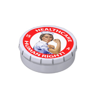 """Nurse """"Rosie"""" says """"Healthcare is a Human Right!"""" Jelly Belly Candy Tins"""