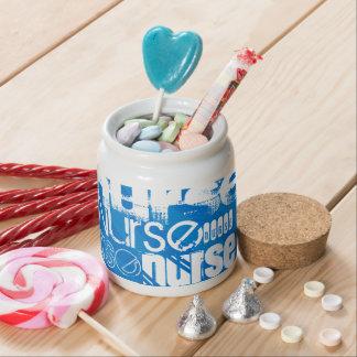 Nurse; Royal Blue Stripes Candy Jar