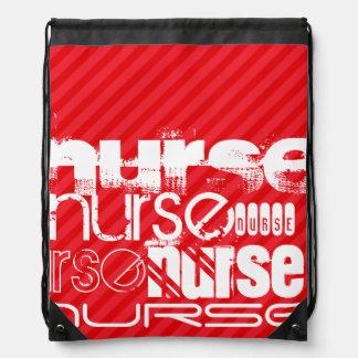 Nurse; Scarlet Red Stripes Cinch Bag